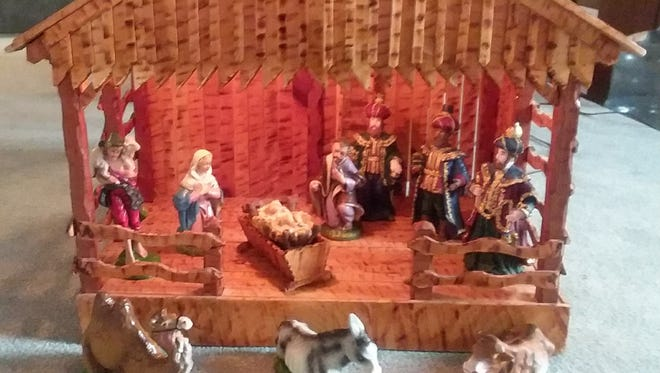 A close-up of one of the approximately 75 nativity scenes hand-made by the late John M. Coleman.