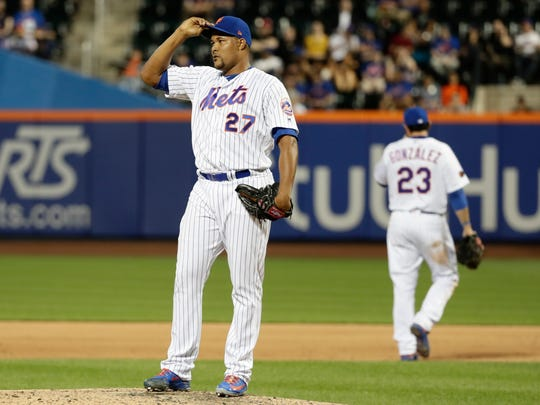 New York Mets relief pitcher Jeurys Familia (27) reacts during the ninth inning of a baseball game against the Miami Marlins Wednesday, May 23, 2018, in New York. The Marlins won 2-1.