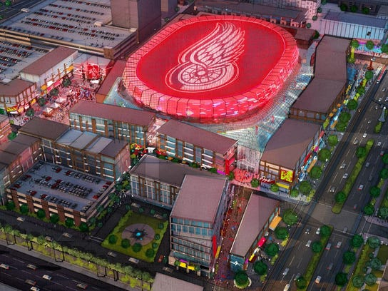 A rendering of the planned new Detroit Red Wings arena