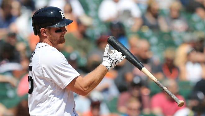 The Detroit Tigers' John Hicks tosses his bat after striking out in the seventh inning Wednesday.