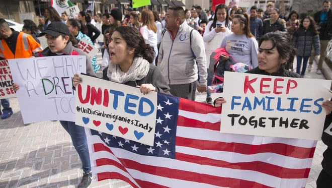 """""""Day Without Immigrants"""" marchers travel from Garfield Park to the Statehouse on Feb. 16."""