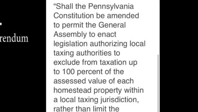 The Pennsylvania referendum on property taxes is pretty confusing.