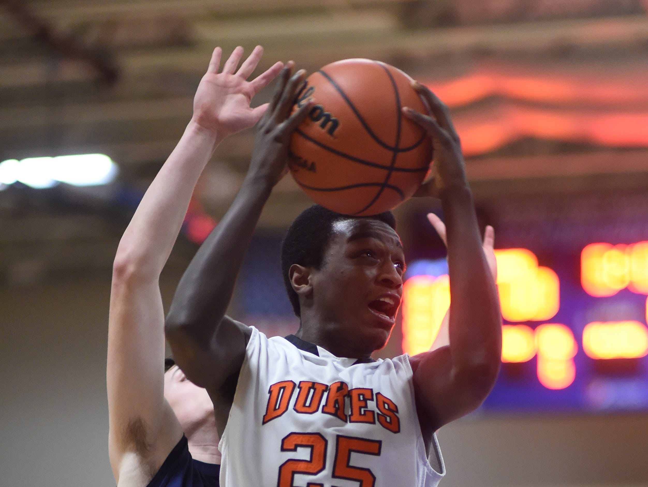 Marlboro's Joseph Nugent goes for a layup during Wednesday's class B regional semi-final versus Briarcliff at Mount Saint Mary College in Newburgh.
