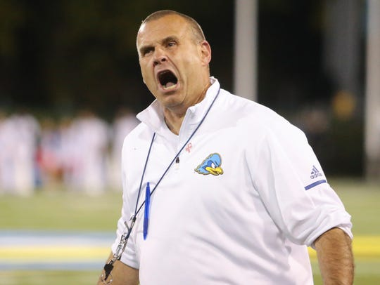 Delaware head coach Danny Rocco complains to the officials