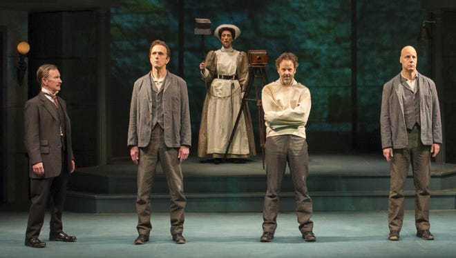 """In Arizona Theatre Company's """"Holmes and Watson,"""" there are actually three men claiming to be Sherlock Holmes -- all in the same insane asylum. Starring (from left) R. Hamilton Wright, James Michael Reilly, Carrie Paff, Noah Racey and Remi Sandri."""