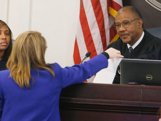 Judge Clifton Newman, right, speaks with Ninth Circuit