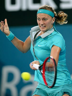 Petra Kvitova plays a shot against Karolina Pliskova.