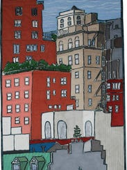 """Textile work includes """"View From the Old Whitney,"""""""