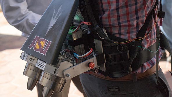 The jet pack applies more than 30 pounds of thrust