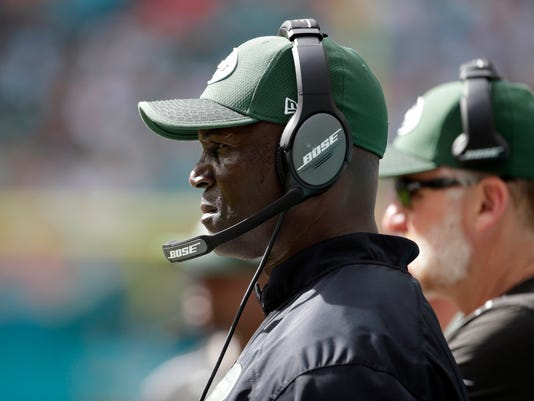 New York Jets head coach Todd Bowles watches his team during the second half of an NFL football game against the Miami Dolphins , Sunday, Oct. 22, 2017, in Miami Gardens, Fla. The Dolphins defeated the Jets 31-28. (AP Photo/Lynne Sladky)