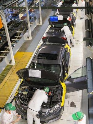 Honda Civics are being produced at the Honda Manufacturing of Indiana facility in Greensburg.