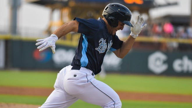 Hooks outfielder Ramon Laureano runs the bases against the Midland RockHounds on Thursday, May 11 at Whataburger Field.