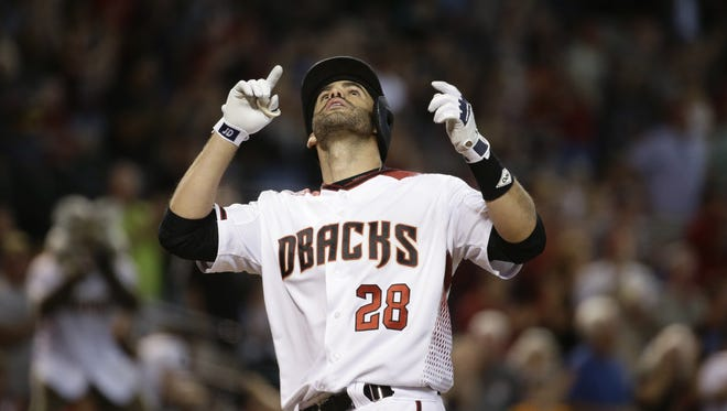 Arizona Diamondbacks J.D. Martinez reacts after hitting a solo homerun against the San Francisco Giants in the 9th inning at Chase Field on Wednesday, Sep. 27, 2017 in Phoenix, Ariz.