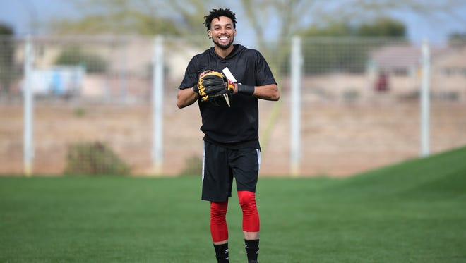 Cincinnati Reds center fielder Billy Hamilton (6) smiles during casual workouts, Thursday, Feb. 15, 2018, at the Cincinnati Reds Spring Training facility in Goodyear, Arizona.