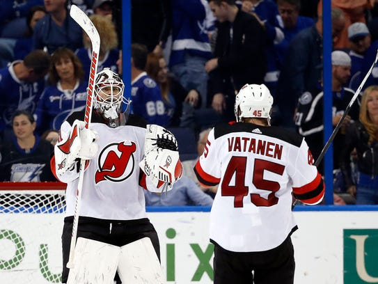 Feb 17, 2018; Tampa, FL, USA; New Jersey Devils goaltender