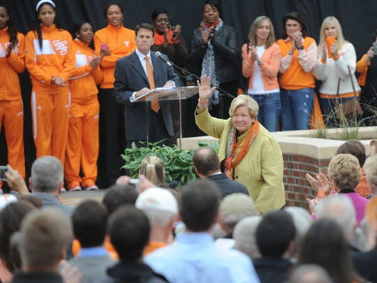 Former Tennessee Volunteers athletic director Joan Cronan is recognized during a statue dedication for Pat Summit in 2013.