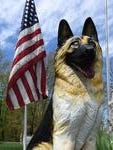 A statue at the Michigan War Dog Memorial Cemetery in Lyon Township.