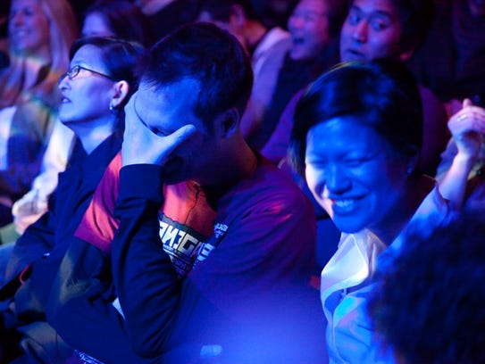 """A """"Mortified"""" audience at the DNA Lounge in San Francisco."""