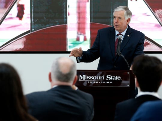 "Missouri Gov. Mike Parson speaks at the Springfield Metro Partnership's ""Legislative Thank You Luncheon"" at Missouri State University on Thursday, June 28, 2018."