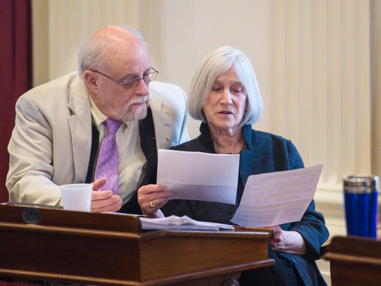 Rep. Janet Ancel, D-Calais, right, chairwoman of the