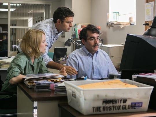 From left, Rachel McAdams as Sacha Pfeiffer, Mark Ruffalo as Michael Rezendes and Brian d'Arcy James as Matt Carroll in 'Spotlight.'