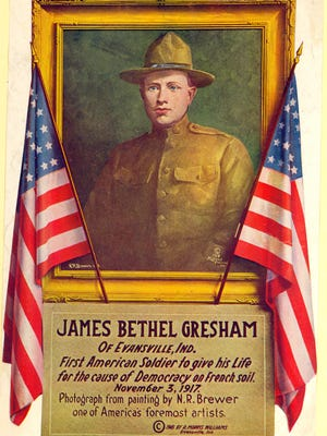 Gresham and the other American killed in the raid were originally buried near the battlefield where they fell. After the war, his remains were exhumed and returned to Evansville in July 1921. His casket was displayed at the Veterans Memorial Coliseum for a public memorial, after which he was laid to rest at Locust Hill Cemetery.
