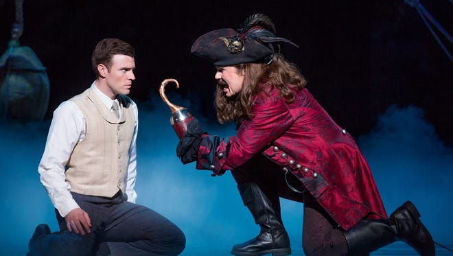 Billy Harrigan Tighe as J.M. Barrie and John Davidson as Captain Hook in Finding Neverland, coming to Louisville's The Kentucky Center.