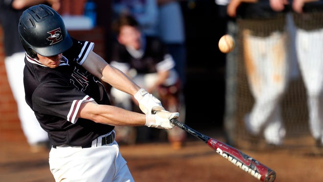 Eagleville's Jonah Clement (14) makes contact during Monday's win over Moore County. Clement is hitting .351 with two home runs and 11 RBIs.