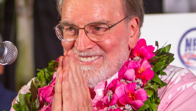 Hawaii Gov. Neil Abercrombie speaks to supporters after giving a concession speech to fellow Democrat and Hawaii State Sen. David Ige at Abercrombie headquarters, on Aug. 9, 2014, in Honolulu.