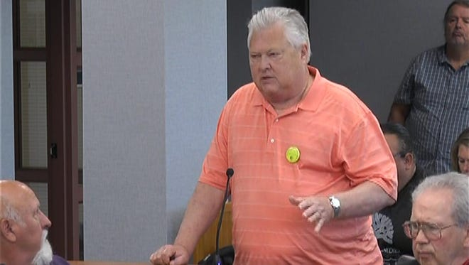 Jim Soharski of Green Bay speaks against the proposed Back Forty Mine on Tuesday at the Door County Board meeting in Sturgeon Bay.