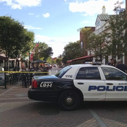 Burlington police block off part of the Church Street