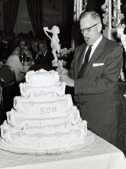 York Rotary secretary Emory Seitz takes the cake as the club celebrated its 50th in 1966. The photo, as many of the Rotary photos of that era, was taken by Henry M. Blatner.