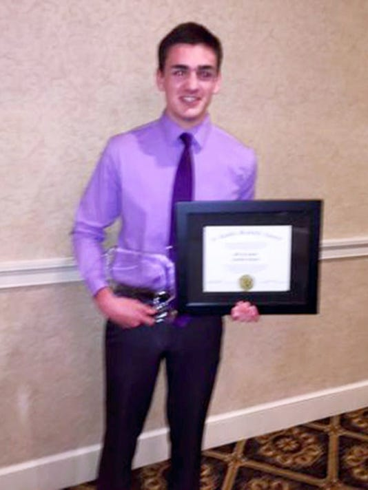 Jeff Inman of Annville-Cleona won the male A. Landis Brackbill Scholar-Athlete award from the Lancaster-Lebanon League on Tuesday.
