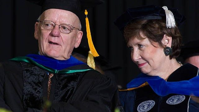 Dennis Repp with Dorothy Horrell, chair of the Colorado State University System Board of Governors, at the CSU Graduate School Spring 2014 Commencement. Alumnus Repp ('60, Agricultural Sciences) received a Doctor of Humane Letters, Honoris Causa.