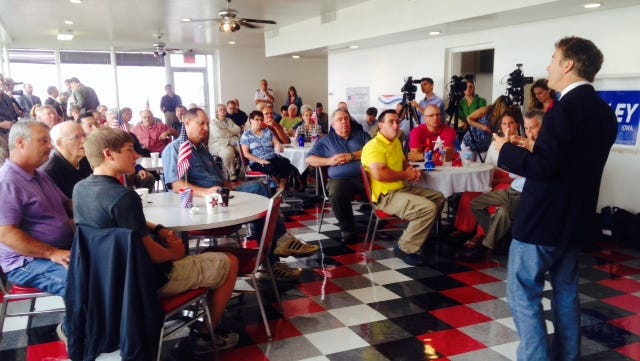 U.S. Sen. Rand Paul of Kentucky speaks to an audience of about 50 at the Mason City airport in Clear Lake, Iowa, today, Aug. 5,2015.