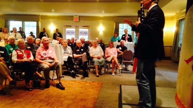 Republican U.S. Sen. Rand Paul of Kentucky, who is weighing a run for the White House in 2016, talks about Social Security with a crowd in Iowa City today, Aug. 5, 2014.
