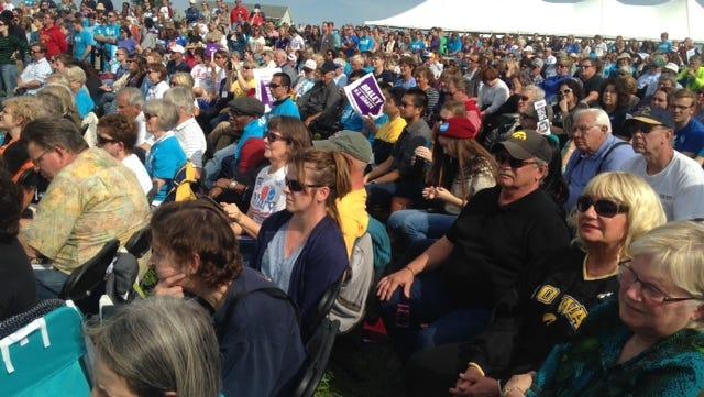 Iowans listen to U.S. Sen. Tom Harkin's speech today at the Harkin Steak Fry in Indianola.