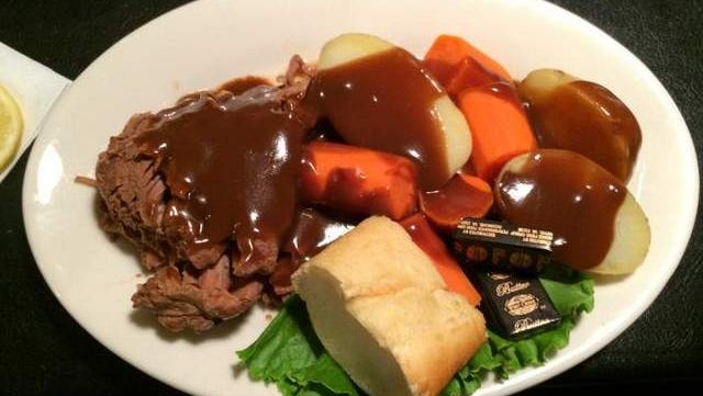 Pot Roast ($11.95) with potatoes and carrots at Bob's Your Uncle in Iowa City.