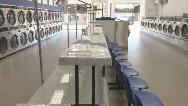 Forty-eight stainless steel washing machines, 60 dryers, 60-in. LED TVs, free Wi-Fi and more at Laundry Time, a state-of-the-art Laundromat, in Lakewood