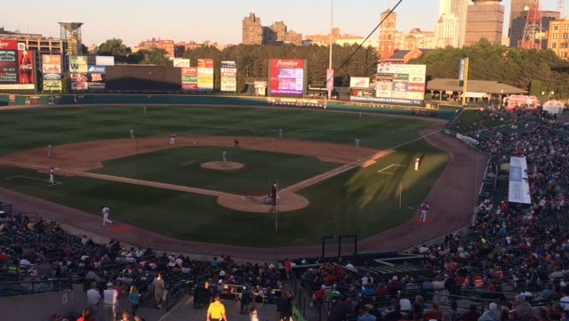 The scene at Frontier Field today, where the Red Wings lost a tough one to first-place Syracuse.