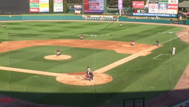 Scranton's Pat Venditte, who throws left and right, pitches to Red Wings outfielder Aaron Hicks in Game 1 Saturday at Frontier Field.