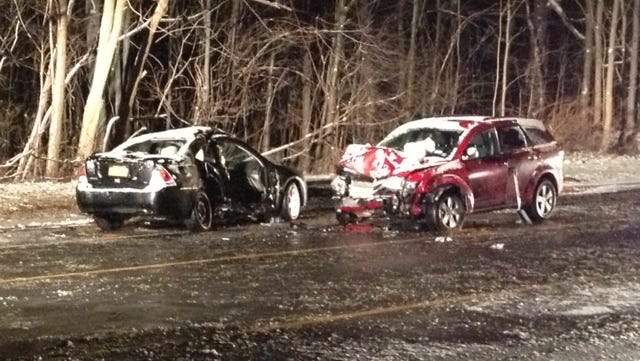 During Tuesday night's snowfall, two cars collided on Vintage Lane in Greece.