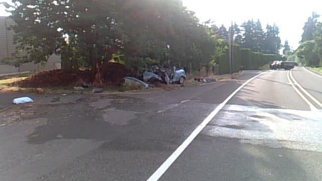 Scene of car crash on Hazelgreen Road Sunday.