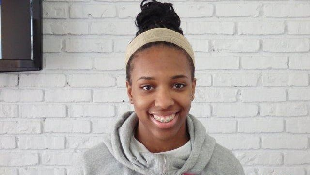 Headshot of Imani Tilford, Woodlands girls basketball, for Con Ed story.