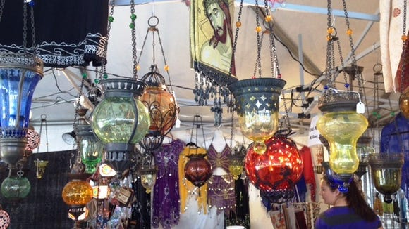 A variety of Greek wares are for sale in the market area of Wilmington's Greek Festival.