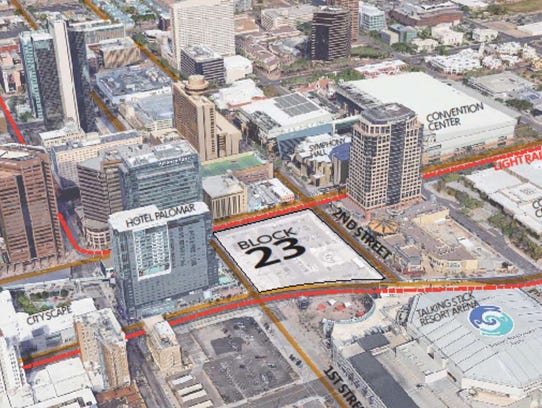 The location of the planned Fry's in downtown Phoenix.