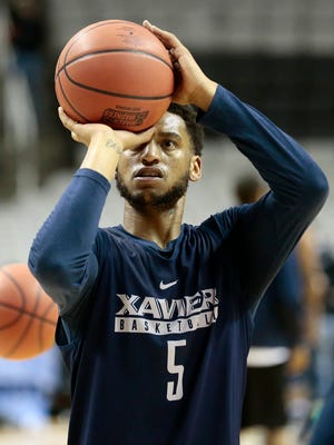 Xavier Musketeers guard Trevon Bluiett (5) takes shots during a practice session ahead of the NCAA Tournament Sweet 16 matchup between the Xavier Musketeers and the Arizona Wildcats at the SAP Center in San Jose, Calif., on Wednesday, March 22, 2017.