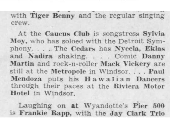 A Sylvia Moy performance at the Caucus Club is noted in the Detroit Free Press on Feb. 12, 1963.