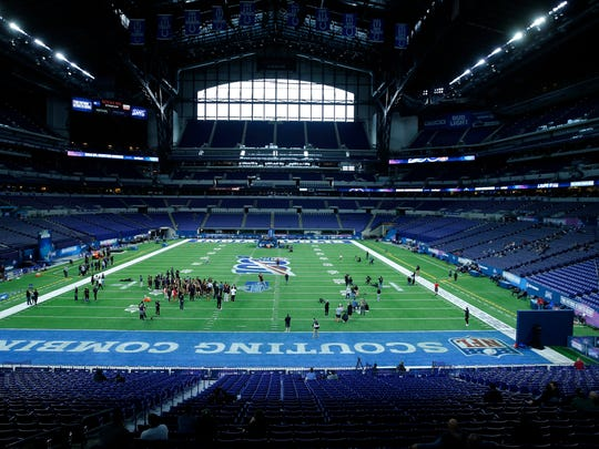 A general view of Lucas Oil Stadium during the NFL Combine in Indianapolis.