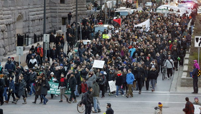 Black Lives Matter protestors marched through the streets of Minneapolis in November in response to the fatal police shooting of Jamar Clark.